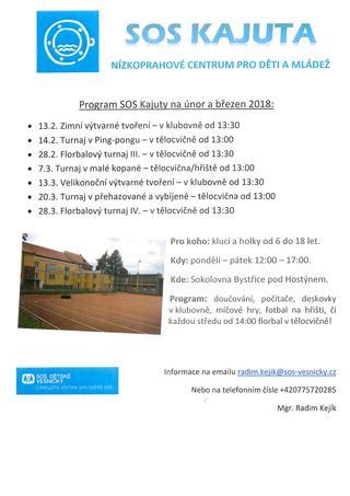 Program SOS Kajuty na únor a březen 2018
